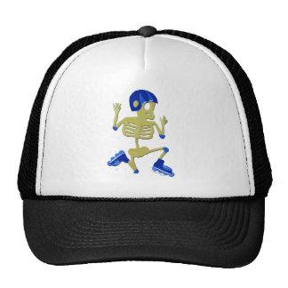 Skeleton on Rollerblades Halloween Trucker Hats