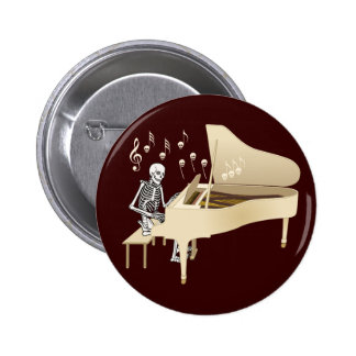 Skeleton Pianist 6 Cm Round Badge