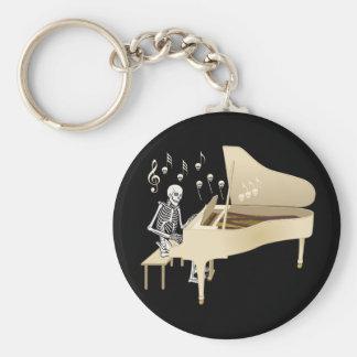 Skeleton Pianist Basic Round Button Key Ring