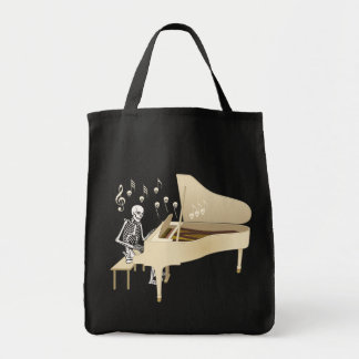 Skeleton Pianist Tote Bag