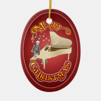 Skeleton Piano Personalized Christmas Ornament