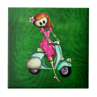 Skeleton Pin Up Girl on Scooter Small Square Tile