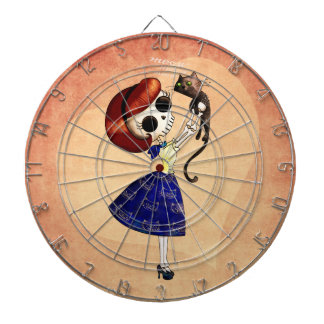 Skeleton Pin up Girl with her Cat Dartboard