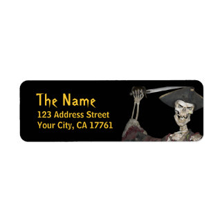 Skeleton Pirate Return Address Labels
