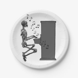 Skeleton Playing Piano Music Funny 7 Inch Paper Plate