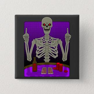 Skeleton Poker Flip 15 Cm Square Badge