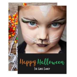 Skeleton Pumpkin Candy Corn Halloween Photo Card