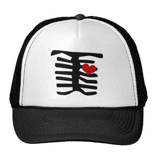 Skeleton Red Heart Mesh Hats