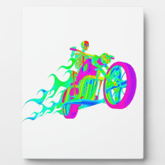 Skeleton Riding a Motorcycle Plaques