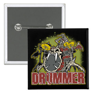 Skeleton Rock Drummer 15 Cm Square Badge