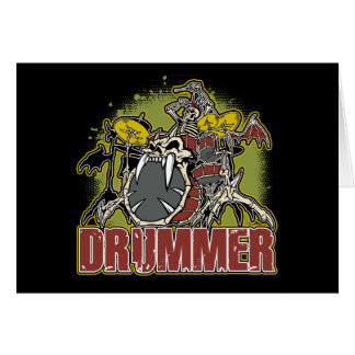 Skeleton Rock Drummer Greeting Cards