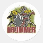 Skeleton Rock Drummer Classic Round Sticker