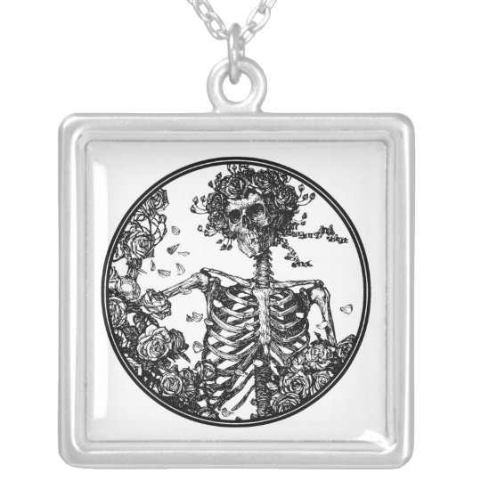 Skeleton & Roses Silver Necklace - Customisable