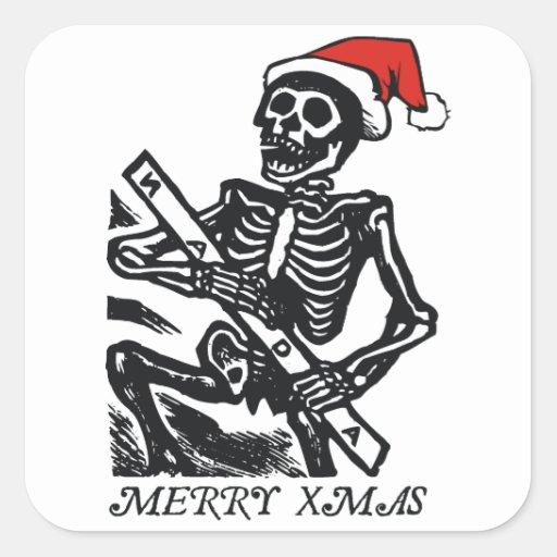 Skeleton Santa Merry Xmas Square Sticker