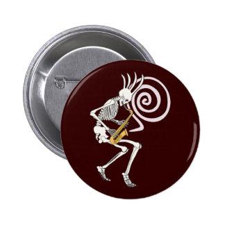 Skeleton Saxophone 6 Cm Round Badge