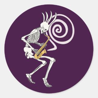 Skeleton Saxophone Classic Round Sticker
