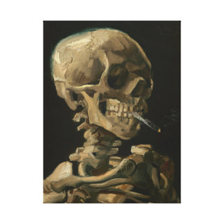 Skeleton Skull with Burning cigarette by Van Gogh Canvas Print