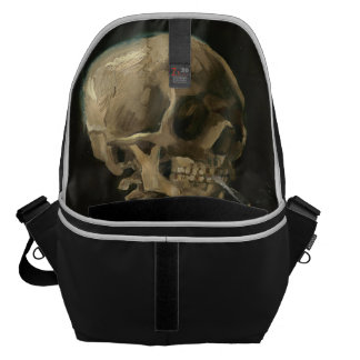 Skeleton Skull with Burning Cigarette by Van Gogh Commuter Bag
