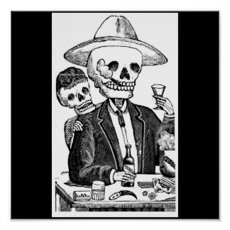 Skeleton Smoking and Drinking Tequila Poster