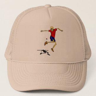 skeleton sports hackysack trucker hat