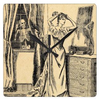 Skeleton Spying on Victorian Lady Vintage Goth Art Wallclocks
