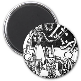 "Skeleton Teacher and Students ""Day of the Dead"" 6 Cm Round Magnet"