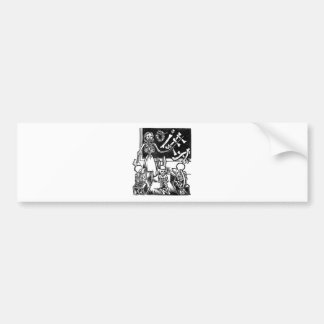"Skeleton Teacher and Students ""Day of the Dead"" Bumper Sticker"