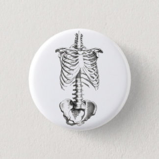 Skeleton Torso Anatomy Spooky button pin