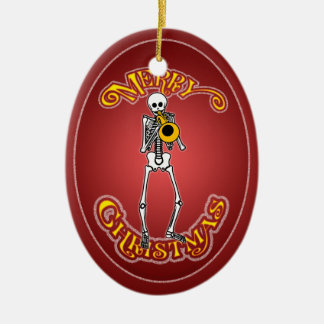 Skeleton Trumpeter Personalized Christmas Ornament