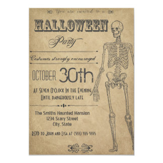Skeleton Vintage Halloween Invitation