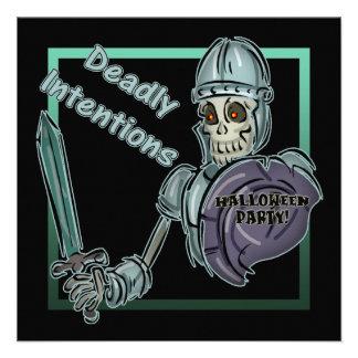 Skeleton Warrior Halloween Party Invitation