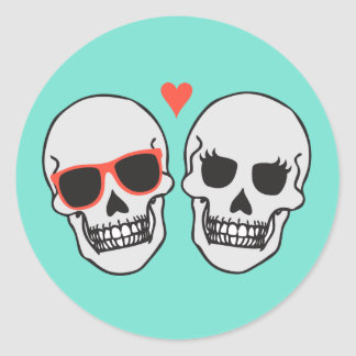 Skeleton Wedding (Turquoise) Envelope Seal Round Sticker