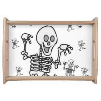 skeleton white black dinner serving tray
