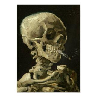 Skeleton with cigarette by Van Gogh 11 Cm X 16 Cm Invitation Card