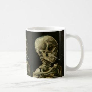 Skeleton with cigarette by Van Gogh Basic White Mug