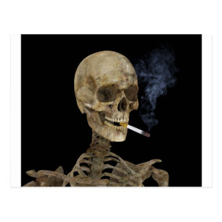 Skeleton with cigarette postcards