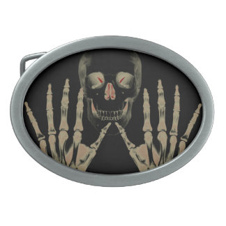 Skeleton with hands red accents Belt Buckle