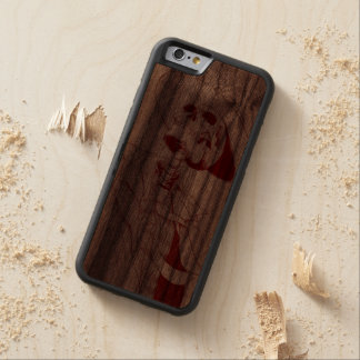 skeleton with hat and tie carved walnut iPhone 6 bumper case
