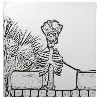 skeleton with pirate hat over wall bw printed napkins