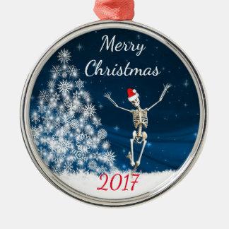 "Skeleton with Santa Hat ""Christmas 20xx"" Christmas Ornament"