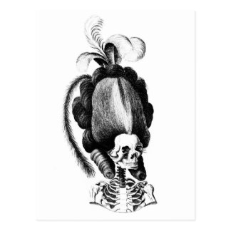 Skeleton Woman with  Elaborate Hairstyle Postcards