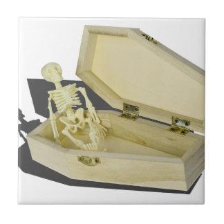 SkeletoninCoffin070315 Small Square Tile