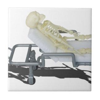 SkeletonOnGurney092715 Small Square Tile