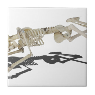 SkeletonProneSideways032215 Small Square Tile