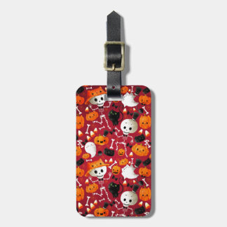 Skeletons and Pumpkins Pattern Luggage Tag