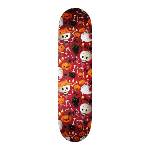 Skeletons and Pumpkins Pattern Skate Board Decks