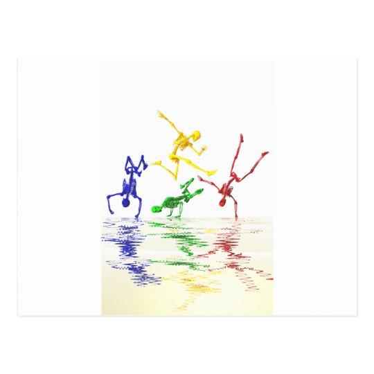 Skeletons breakdancing postcard