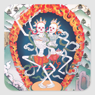 Skeletons Dancing Tibetan Buddhist Art Square Sticker