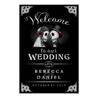 Skeletons Elegant Black & White Welcome to Wedding Poster