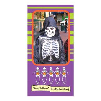 Skeletons holding pumpkins photo cards